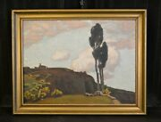 Antique Oil Landscape Painting Volterra Italy Tuscany - Karl Oand039lynch 1869-1942