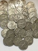 Lot Of 40 Walking Liberty Silver Half Dollars 90. 2 Rolls Silver Coins   A3