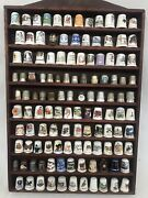 Thimble Display Holder Case With 120 Thimbles Wooden Wall Mount Unique Lot