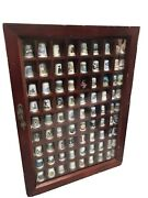 Thimble Display Case Wooden Cabinet Mele With 90 Thimbles Unique Lot Well Made