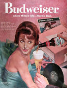 1960 Budweiser Beer Lot Of 3 Genuine Vintage Ads Free Shipping