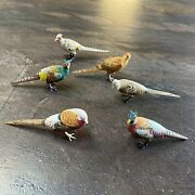 Six Japanese Okimono Carved And Colored Birds In Colors Of Plum Purple And Tan
