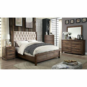 Contemporary 4pc Bedroom Furniture Cal King Size Bed Dresser Mirror Natural Tone