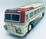 1960and039s Vintage Tin Bus By Masudaya Modern Toys Japan Battery Operated Untested