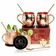 [gift Set] Mule Science Authentic Moscow Mule Mugs Set Of 4 16oz | Copper