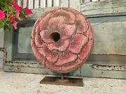 Antique 19th Century Reclaimed Industrial Hand Painted Large Wooden Pulley Wheel