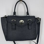 Hill And Friends Happy Satchel Textured Leather Tote Blue Silver Hardware Strap