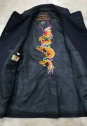 Vintage Wwii Us Navy Dragon Embroiderey Peacoat Rare Size 36