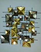 Metal Wall Sculpture, Signed By Candy, Vintage Mid Century, Brutalist.