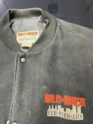 Rare 1999 New York Twin Towers Embroidered Silhouette Harley Leather Jacket .