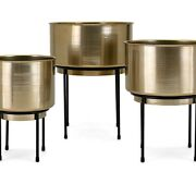 Saltoro Sherpi Metal Crafted Planters On Stand, Set Of Three, Gold And Black