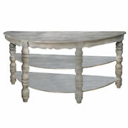 Half Moon Shaped Wooden Console Table With 2 Shelves And Turned Legs, Gray