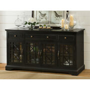 Craftsman Series 60 Inch Wooden Media Unit With 3 Drawers Antique Black