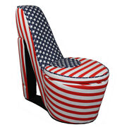 Saltoro Sherpi Wooden High Heel Shaped Storage Chair With Flag Print Multicolor