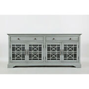Craftsman Series 70 Inch Accent Cabinet With Fretwork Glass Front Earl Gray