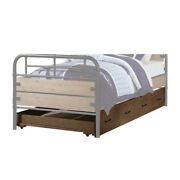 Saltoro Sherpi Wooden Twin Size Trundle Bed With Caster Wheels, Brown