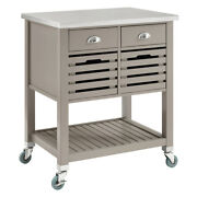 Saltoro Sherpi 4 Drawer Wooden Kitchen Cart With Caster Wheels Gray And Silver