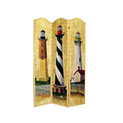 Saltoro Sherpi Hand Painted 3 Panel Wooden Room Divider With Lighthouses Print
