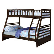 Saltoro Sherpi Wooden Twin Over Full Bunk Bed With Angled Ladder Espresso Brown