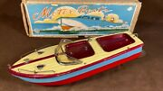 Vintage 1950s Tin Model Speed Boat Toy Pond Boat Battery Operated Motor W/ Box