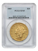 1865 20 Pcgs Xf45 - Popular Civil War Date - Liberty Double Eagle - Gold Coin