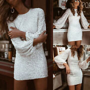 Womens Sequins Party Mini Dress Long Sleeve Ladies A-line Bodycon Party Dresses