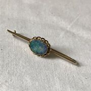 Antique 9 Carat Gold Opal Bar Brooch Stock Pin. Stunning Fire And Ice