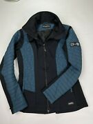 Kerrits Womenandrsquos Horse Quilted Equestrian Full Zip Jacket Teal Black Size Small