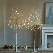 Hairui Pre Lit Birch Tree 2pack 6ft 128 Warm White Led White Christmas Tree With