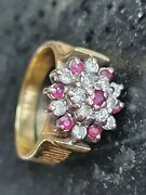 Diamond And Ruby 18ct Gold Cluster Ring 750 Antique Size L 6.10g Beautiful