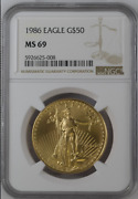 L👀k 1986 ☆ 50 1 Oz Gold American Eagle - Ngc Ms69 In A Respectable Grade Andldquow@wandrdquo