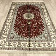 5and039x8and039 Handmade Silk Area Rug Red Kid Friendly Antistatic Indoor Carpets 017b