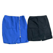 Lot Of 2 Talbots Woman Skirts Womens Size 16w Pencil Lined Zip Knee Length Blue