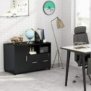 Mobile Filing Cabinet For Home Office With Storage Door Drawer And Open Shelves