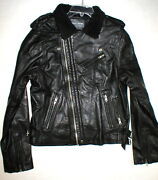 New Nwt Mens Designer Slate And Stone Leather Shearling Moto Jacket Xl Black Silve