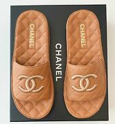 2021 Brown Quilted Leather Cc Logo Mules Slides Sandals 39 Nib Sold Out