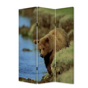 Saltoro Sherpi 3 Panel Foldable Wooden Screen With Bear Print Blue And Brown