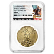 2021 50 Type 1 American Gold Eagle Ngc Ms69 1 Oz Final Production Black Label