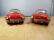 Vintage New Toy Pair Of Chevy Corvetteand039s Tin Friction Cars Mf 316-7 Hdtp Conv