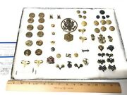 Wwii Huge Lot Of 59 U.s. Military Pins Buttons Awards And More With Case Nice Lot