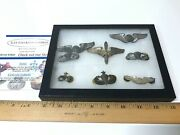 Wwii Sterling Silver Huge Lot Of 8 U.s. Military Paratrooper Airborne Pin And Case