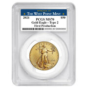 2021 50 Type 2 American Gold Eagle 1 Oz Pcgs Ms70 First Production West Point L