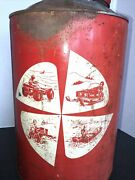 Vintage 2 Cycle 6 1/2 Gallon Gas Oil Can Great Graphics Snowmobile Boat Tractor