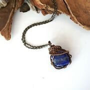 Lapis Lazuli Crystal Necklace Antique Bronze Wire Pendant Designs By Nature Nwt