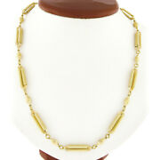 Fancy 14k Gold 29 Grooved Oval Bead Textured Open Bar Link Long Chain Necklace