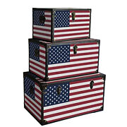 Saltoro Sherpi Wooden Trunks With Us Flag Print And Metal Corner Accent Set Of