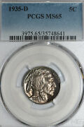 1935-d Buffalo Or Indian Head Nickel Toned Pcgs Graded Ms65 35748641