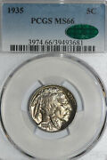 1935-p Buffalo Or Indian Head Nickel Pcgs And Cac Graded Ms 66 39493681