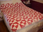 Vintage Handmade Quilt, Red And White Design, As Is, Cutter Nice For Santas