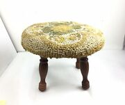 Antique/vintage Foot Stool Green Floral Needlepoint Round Wood Base Turned Legs